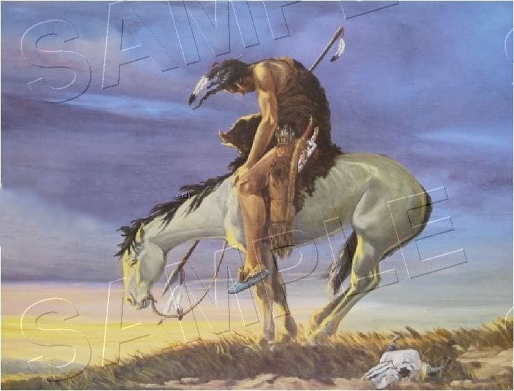 End of the trail american indian canvas art large