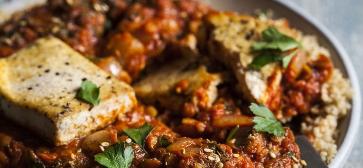 Vegan Tofu and Red Lentil Shakshuka - Heat the olive oil in a large, deep skillet (one with a lid) over medium heat. When the oil is shimmering, add the onion. Cook for 5-7 minutes, stirring frequently, or until the onion is soft and clear. Add the ...
