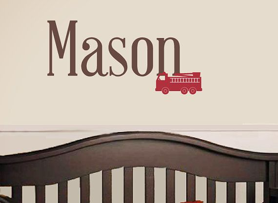 Fire Truck Name Wall Decal   Nursery Children Boy. Baby Boy Room ...