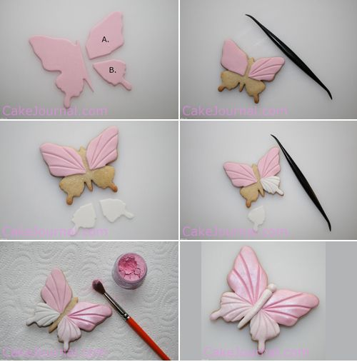 mariposa_galleta_fondant. Decorar galletas con fondant.