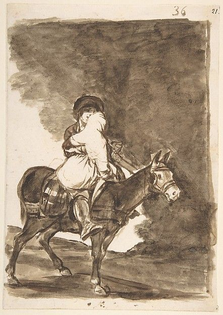 Goya (Francisco de Goya y Lucientes) | A Man and a Woman on a Mule; Images of Spain Album (F), page 36 | The Met