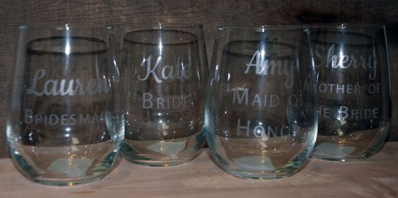 9 Etched Stemless Wine glasses 17 oz by MemoriesMadeToronto