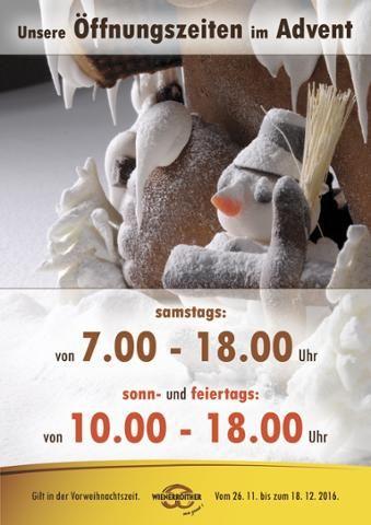 Baking News - Baking News - Baking News  Im #Advent haben wir unsere Filiale am Villacher Hauptplatz auch sonn- und feiertags geöffnet. Kommt, seht und kostet - Wienerroither. Ma guat!