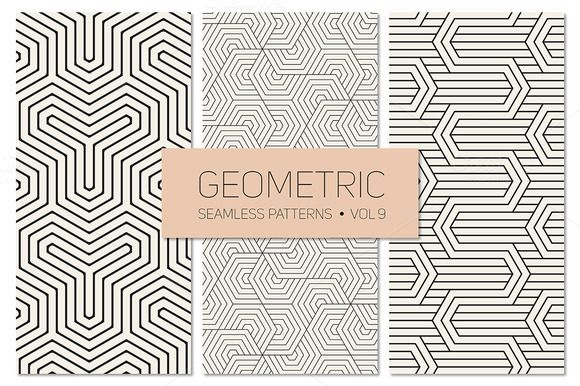 Geometric Seamless Patterns Set 9 by Curly_Pat on Creative Market