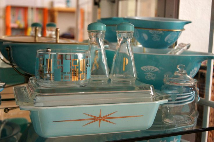 Vintage Turquoise & Gold Pyrex ***PromotionalAtomic Starburst Pyrex Casserole Dish 575B 2 qt. w. Lid & (1958) Chip & Dip Hot Air Balloon Pattern***