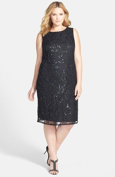 Formal, 1920s inspired gown in plus sizes Pisarro Nights Beaded Lace Sheath Dress (Plus Size) $198.00