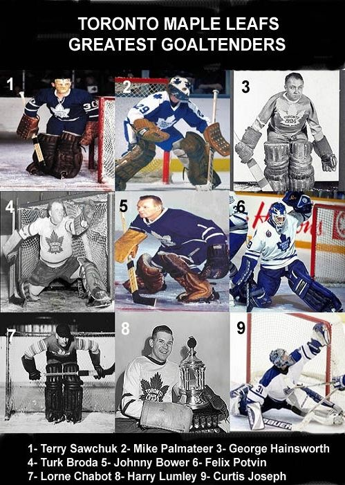 *Toronto Maple Leafs Greatest Goaltenders* ... Hey, I think they forgot to include Toskala. Damn, that's some kind of list if Ed Belfour doesn't crack it. Then again, Belfour was never drafted either. Nobody wanted poor Belfour. But now he's in the Hall of Fame. Moral of the story? Belfour was weird.