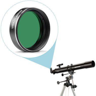 Filtri lunari. Un filtro lunare s'introdurrà direttamente sul fondo del tuo oculare. Quasi tutti gli oculari sono adatti all'introduzione di un filtro. Pensa ad un filtro lunare come occhiali da sole per il tuo telescopio. I filtri lunari ridurranno i bagliori e porteranno ad una superficie più dettagliata, fornendoti un contrasto migliore.  Filtri planetari. I filtri astronomici funzionano bloccando determinati colori all'interno dello spettro di luce visibile.