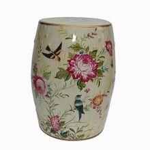 Moderne chinois en céramique haut de fleurs et d'oiseaux desin tabourets pour maison et jardin décoration H18inches(China (Mainland))