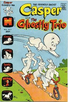 The Ghostly Trio (known as Fatso, Stinky, and Stretch) are fictional characters in the Casper the Friendly Ghost series. Their first animated appearance was in Fright from Wrong, a cartoon of Paramount Pictures' Famous Studios theatrical series from the 1950s. They made numerous Harvey Comics appearances and were featured in the Harvey Comic title Casper and the Ghostly Trio. Versions of the Ghostly Trio remained prominent in subsequent adaptations/spin-offs.