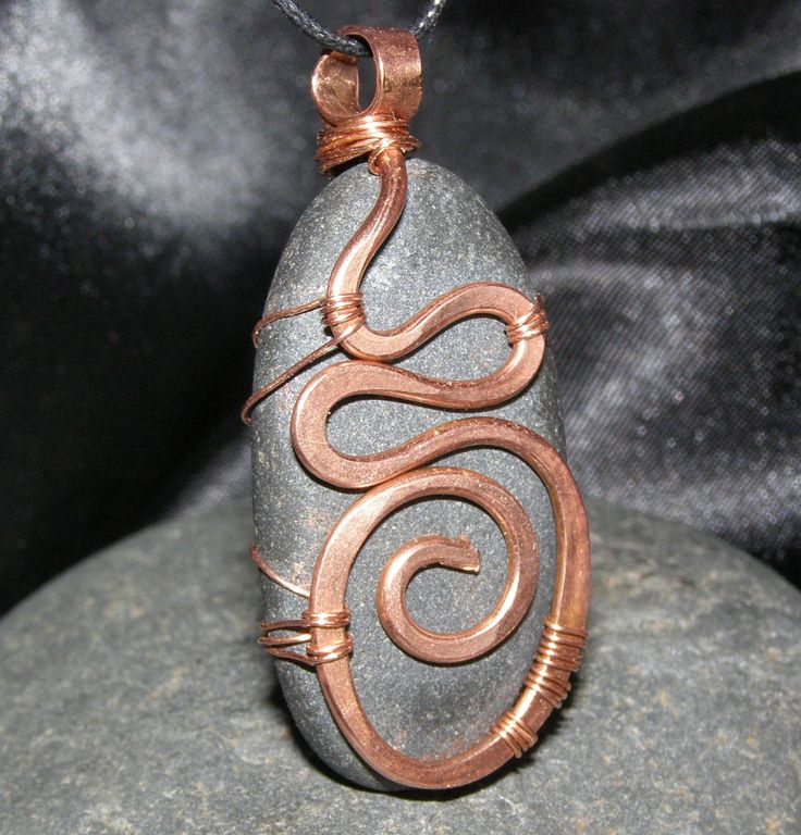 upcycled recycled jewelry hand hammered copper wire wrap necklace focal bead. $22,00, via Etsy.