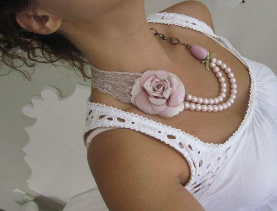 Rose Wedding Necklace Bridesmaids Flower by catyflowerpower, $31.00