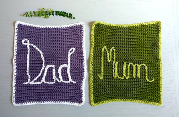 Crochet headrest cloths for mum and dad, in cotton with written embroidery, home…