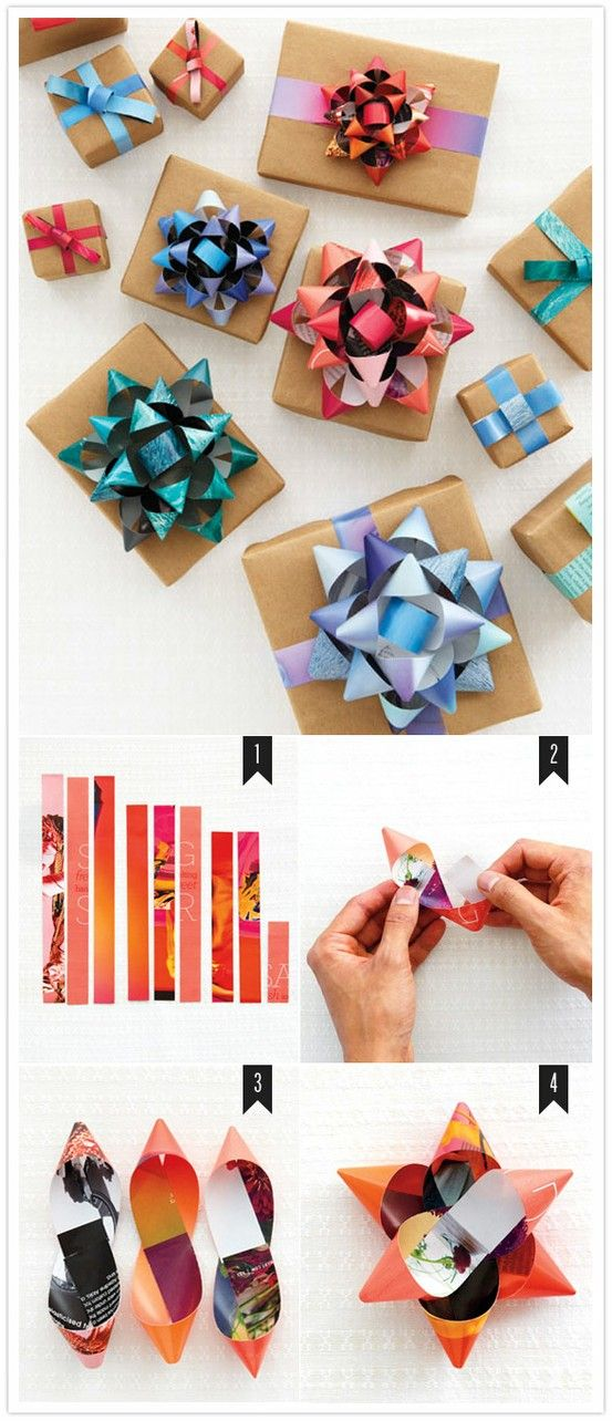 Make your own bows from old magazine pages (preferably with a holiday movie playing in the background — it does take a little while). #DIY