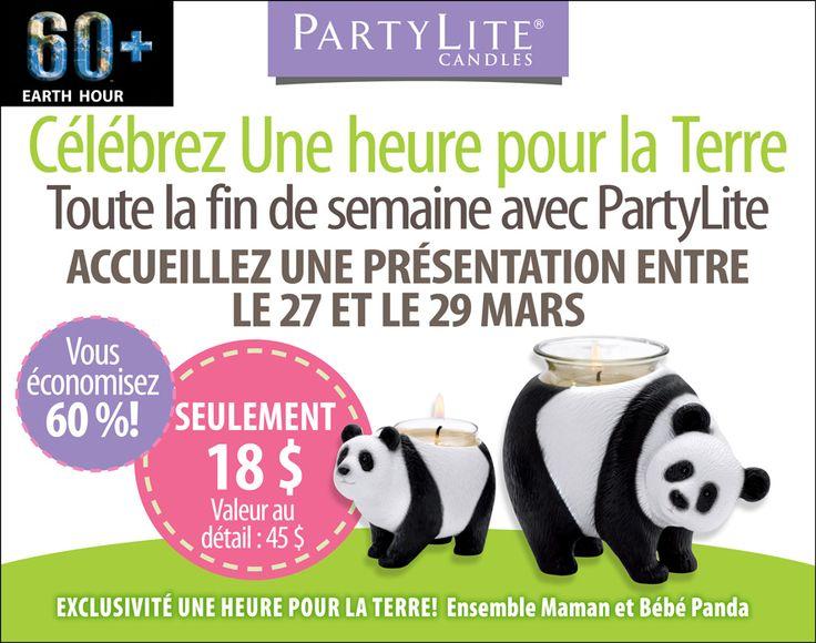Hôtes/esses pour les 27 au 29 Mars 2015 Obtenez la maman et bébé PANDA pour seulement 18$ contactez moi pour les détails www.partylite.biz/marcelrobidoux