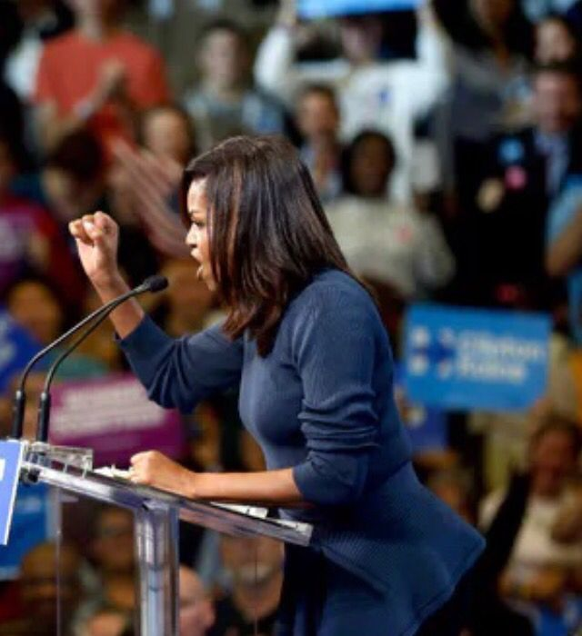 SPEECH #FirstLady Of The United States #MichelleObama aims blistering speech at Donald Trump: 'No woman deserves to be treated this way' An impassioned Michelle Obama delivered a blistering indictment against Donald Trump at a #campaign event for #HillaryClinton in #Manchester N.H., Thursday #October13th #2016