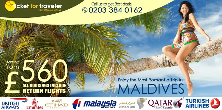 The romantic trip to Maldives from ticketfortraveler, call us to get the offer 0203 384 0162
