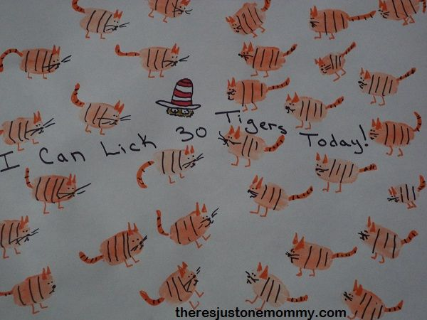 Craft idea for I Can Lick 30 Tigers Today!  Great for Dr. Seuss' birthday in March! | There's Just One Mommy