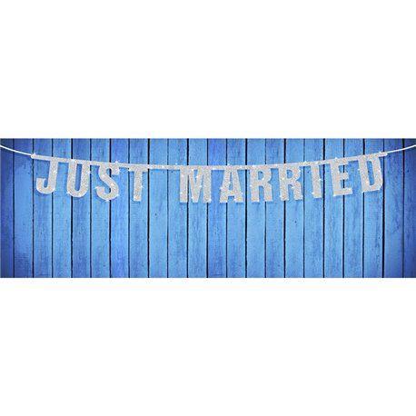Bryllupsbanner - Just Married i Sølv med Skimmer