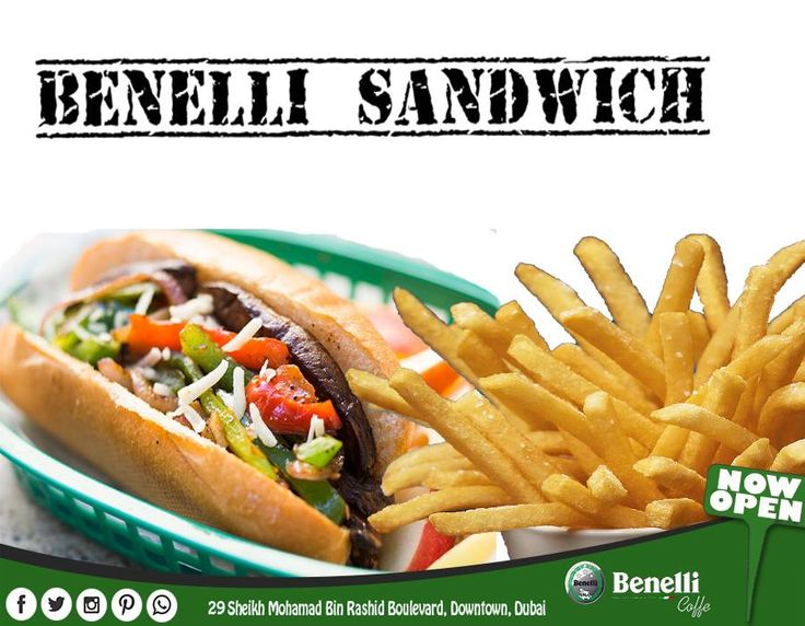 It has been well said that a hungry man is more interested in four sandwiches than four freedoms.  Benelli Caffe presenting you the special BENELLI SANDWICH with mega Hot dog, grilled pepper, onion, served with cheese. We welcome you to Benelli Caffe for high quality food and environment.  For more Detail you can call or email Tel : 042434968 Email: info@benellicaffe.com www.benellicaffe.com  #dubai #downtown #caffe #cafe #resturenents #burjkhalifa #abudhabi #dubaimall #food #bestdeals…