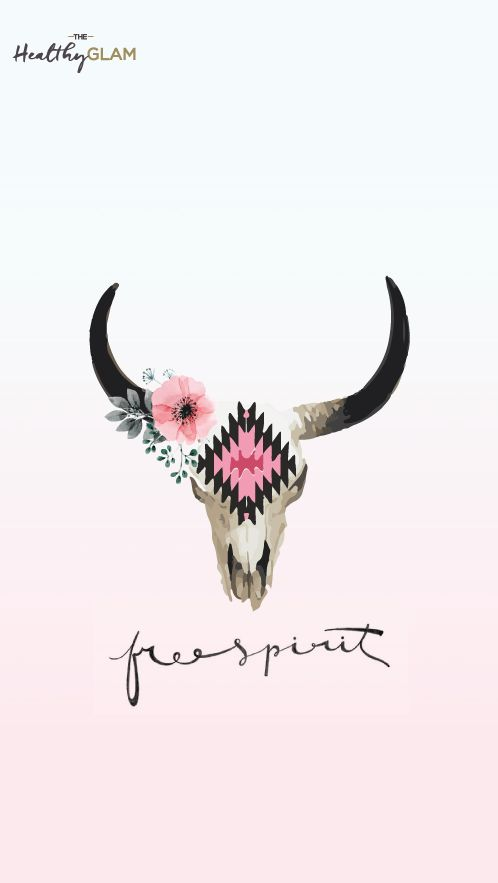 Free spirit iphone wallpaper. Cow skull with flowers