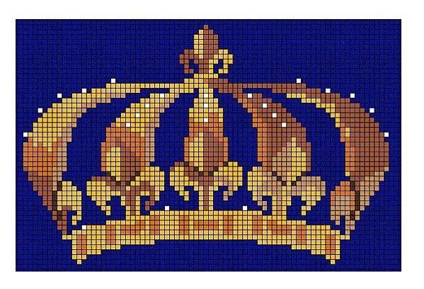 free cross stitch crown with fleur de lys