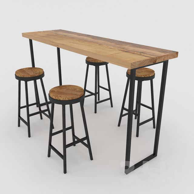 3d Models Table Chair Bar Table With Chairs Bar Table