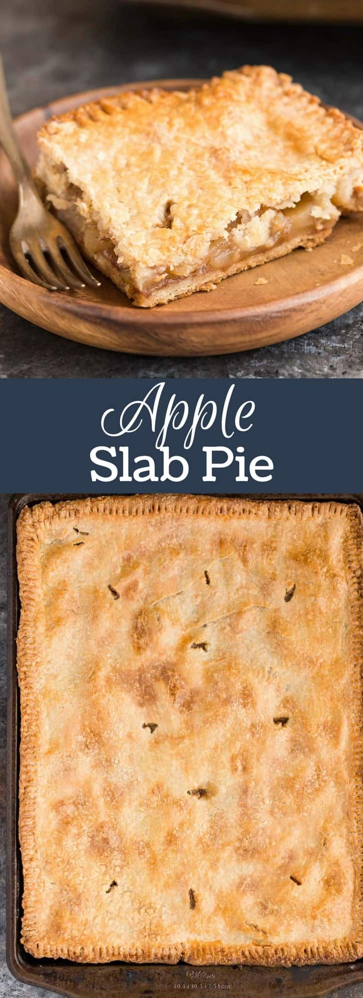 This Apple Slab Pie is way better than a traditional pie! It features a sturdy brown butter crust and gooey apple cinnamon filling--full step-by-step recipe on bakedbyanintrovert.com #apple #pie #brownbutter #piecrust