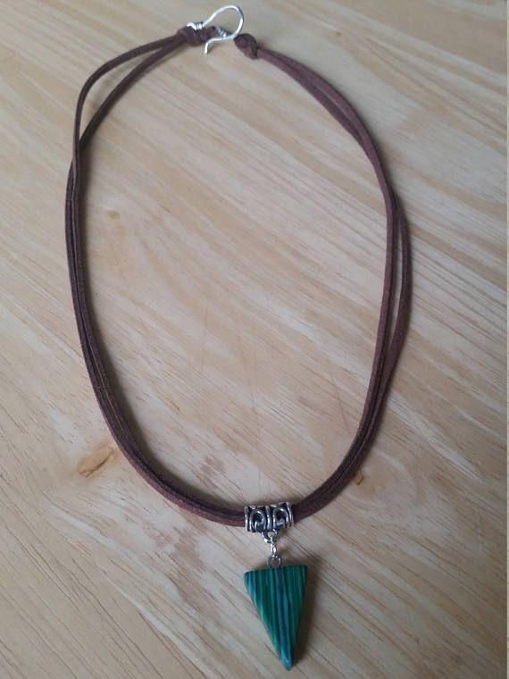 Green necklace Triangle necklace Malachite necklace Boho