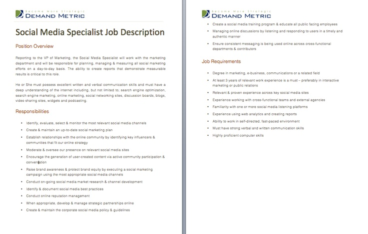 Social Media Specialist Job Description A template to quickly – Social Media Marketing Job Description