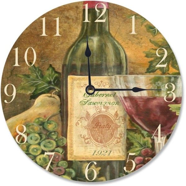 Stupell Grapes of Tuscany Vanity Clock (1,590 PHP) ❤ liked on Polyvore featuring home, home decor, clocks, brown, grapes home decor, brown wall clock and hand clock