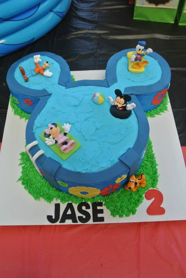 Mickey Mouse themed pool party cake!!!