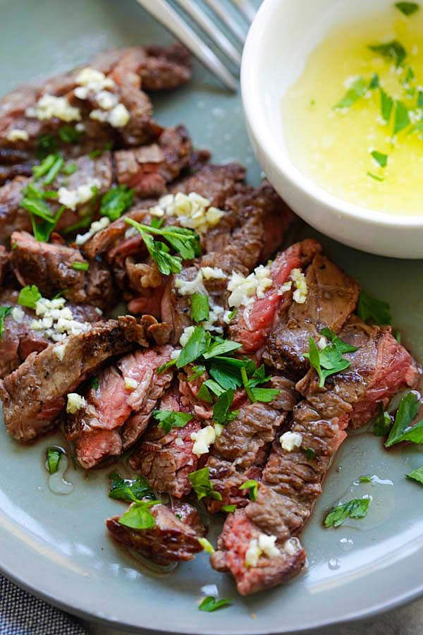 Garlic Butter Brazilian Steak - the juiciest and most tender steak with a golden garlic butter sauce. Takes 15 minutes and dinner is ready | rasamalaysia.com