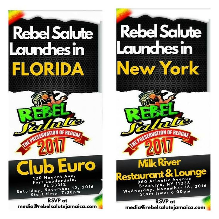So nice they are doing it twice!  The @rebelsalute #festival launch 11/12 ( tonight) at #ClubEuro #Florida and Thursday 11/16 #MilkRiver #Brooklyn Get ready for #RebelSalute #Jamaica #musicfestival  January 13 & 14 #OrganicHeart #RebelSalute2017 #thepreservationofreggae #thecountdownison #itsmorethananevent #itsalifestyle  tickets  available now http://ift.tt/2fHrZSo