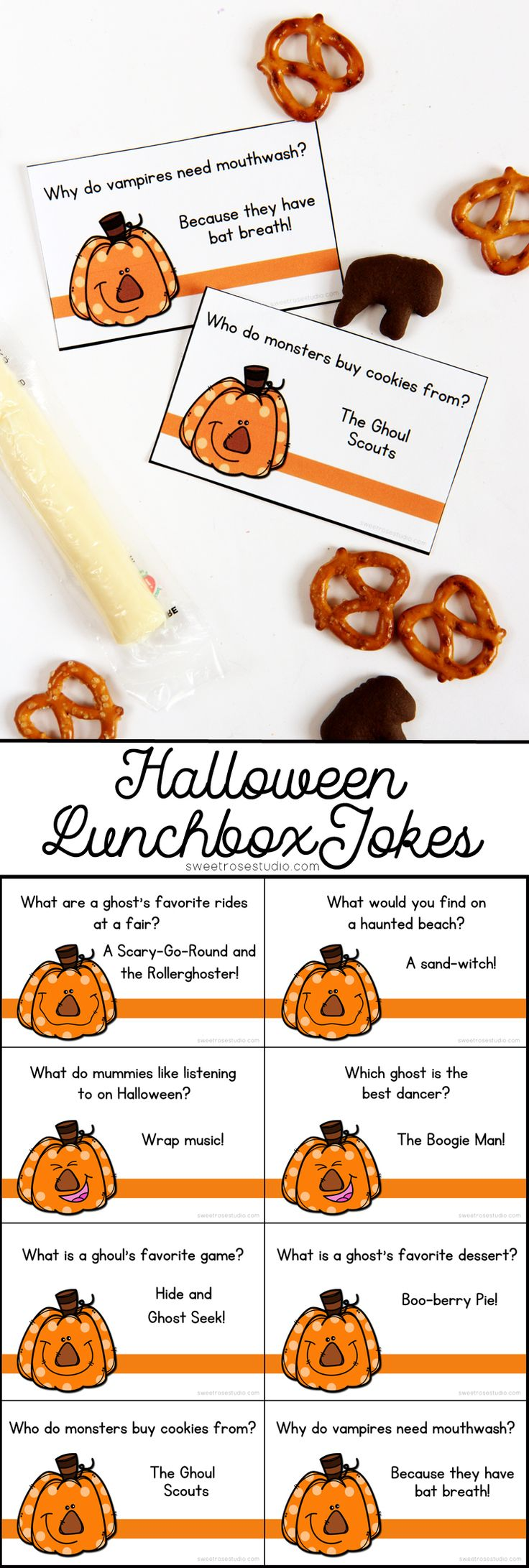 These FREE Halloween Lunchbox Jokes are a fun way to add some laughs to your kiddo's lunches!