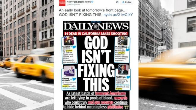 "Daily News Cover: God Isn't Fixing This - Amidst the news of a mass shooting in California, a lively debate erupted on Twitter over the power and utility of offering ""prayers"" in the wake of such an event."