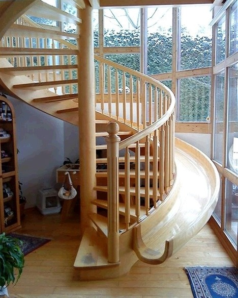Wooden Staircase With Slide.