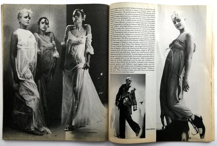 """John Galliano. """"Forgotten Innocents""""Dec 1986  This is the third London show. Styled by Amanda Grieve. The models splashed with water. Photo by Bill Cunningham  for Details Magazine"""