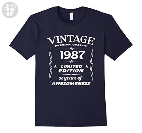 Mens Vintage 1987 30th Birthday 30 Years Old Gift T-Shirt 2XL Navy - Birthday shirts (*Amazon Partner-Link)