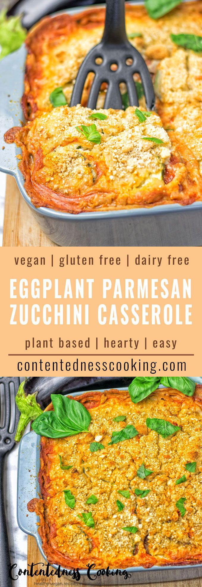 Eggplant Parmesan Zucchini Casserole, vegan, glutenfree full of incredible flavors! Eggplant and Zucchini Slices are layered in homemade dairy free white sauce and fresh tomato sauce. Topped with vegan parmesan baked to perfection. This makes an amazing plant based appetizer, dinner, or lunch comfort food. Plus super easy to make.