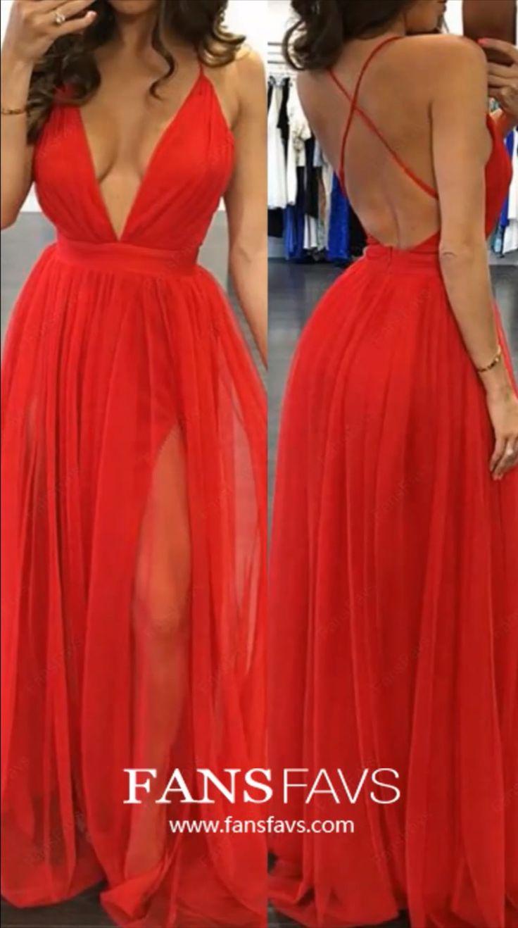 Long Prom Dresses With Slit, Black Prom Dresses 2019, A-line Prom Dresses  V-neck, Sexy Prom Dresses Tulle