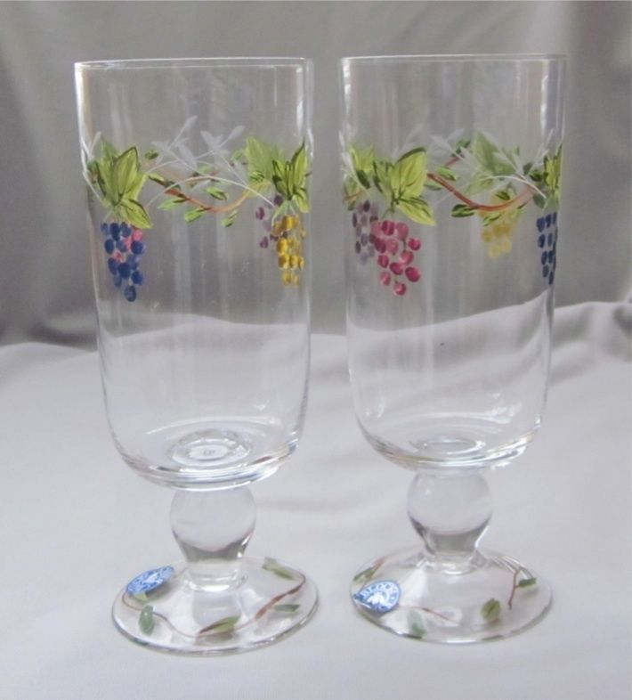 2 Iced Tea Goblets Glasses Block Crystal BLC23