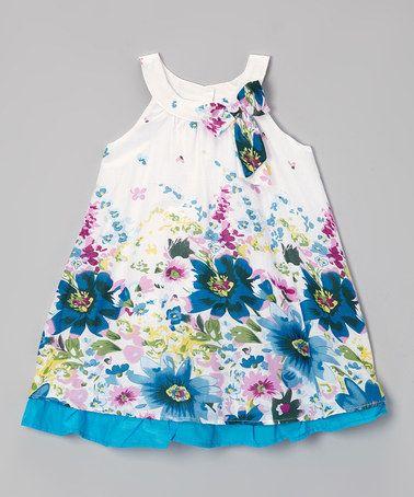 Look at this #zulilyfind! Blue & White Floral Ruffle Yoke Dress - Toddler & Girls by Paulinie #zulilyfinds