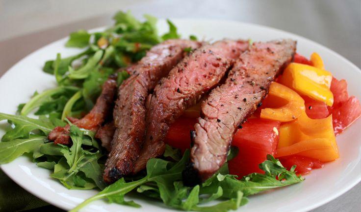 Spicy-Sweet Flank Steak, Mini Peppers & Watermelon Salad