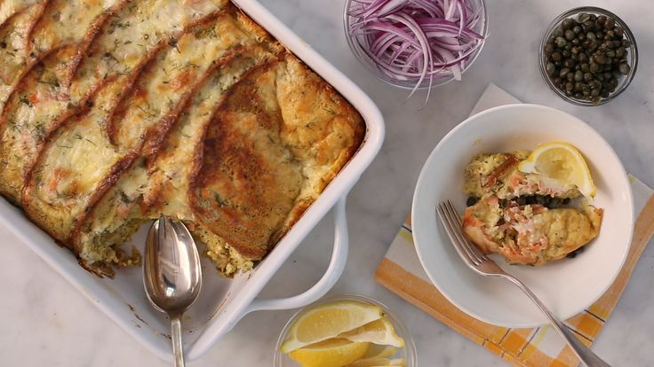 Need a quick and delicious breakfast idea to serve a crowd? Join Sarah Carey as she creates a fun recipe for a Jewish-Deli Strata that's inspired by a traditional bagels and lox breakfast.
