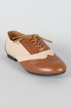 Bamboo Vabene-20 Two Tone Lace Up Oxford Flat  $15.90