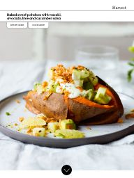 Waitrose Food March 2017: Baked sweet potatoes with wasabi, avocado, lime and cucumber salsa