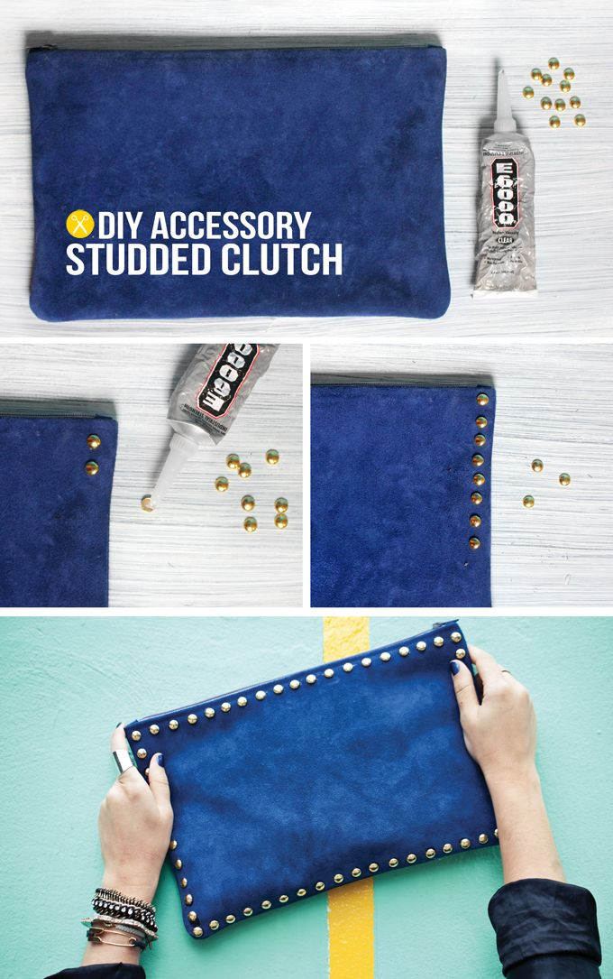 DIY Studded Clutch.