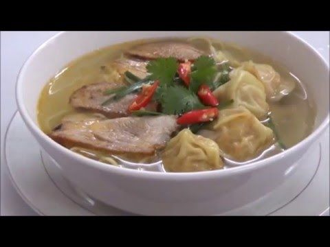 Egg Noodles With Wonton And Marinated Pork Soup