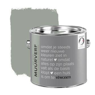 vtwonen krijt mat muurverf ash grey 2,5 l | Muurverf kleur | Muurverf | Verf & verfbenodigdheden | KARWEI